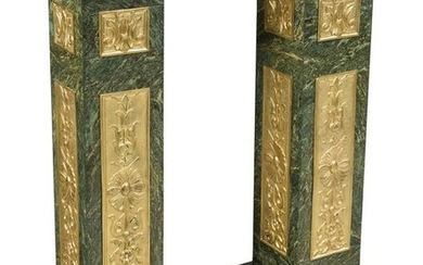A Pair of French Gilt Bronze and Verde Marble Pedestals