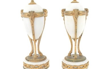 A Pair of Louis XVI Style Gilt Bronze Mounted Alabaster Cassolettes