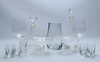 A Pair of Marquis Waterford Wine Glasses Together with Other Glasswares inc Decanters, Comports
