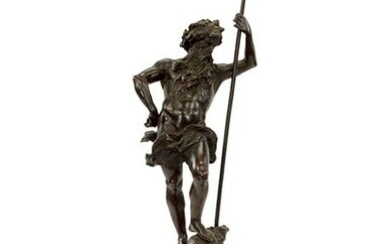 A Patinated Bronze Figure of King Neptune.