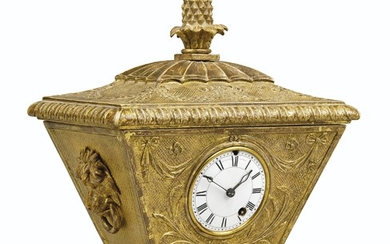 A REGENCY GILTWOOD AND GESSO TIMEPIECE TABLE CLOCK, VULLIAMY, LONDON, EARLY 19TH CENTURY, NO. 695