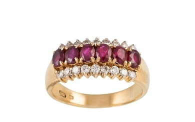 A RUBY AND DIAMOND DRESS RING, set with oval rubies and bril...
