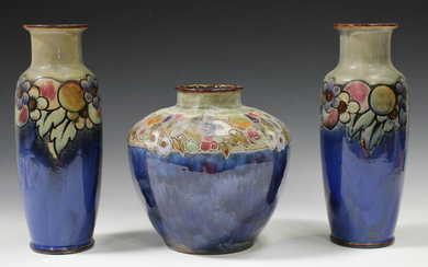 A Royal Doulton stoneware bulbous vase, early 20th century, decorated by Maud Bowden, monogrammed, w
