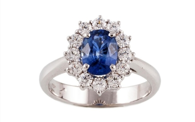 A SAPPHIRE AND DIAMOND OVAL CLUSTER RING, one oval cut sapph...