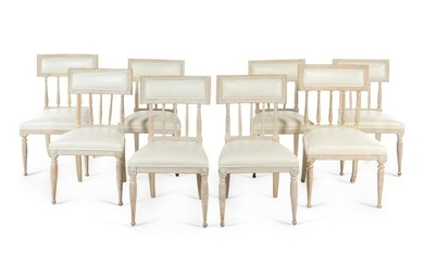 A Set of Eight Gustavian White-Painted Dining Chairs