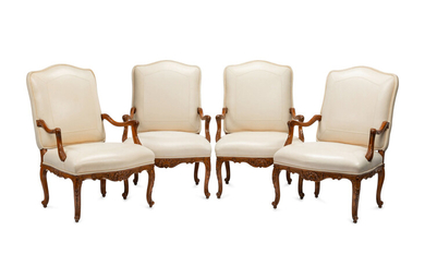 A Set of Four Régence Style Leather-Upholstered Armchairs