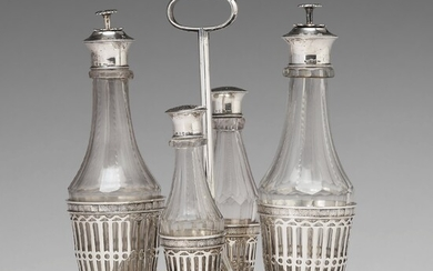 A Swedish early 19th century silver and glass cruet-set, marked Pehr Zethelius, Stockholm 1808.