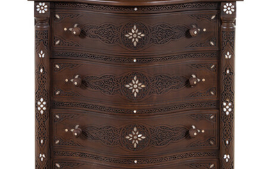 A Syrian Carved Mother-of-Pearl Inlaid Walnut Serpentine Chest of Drawers