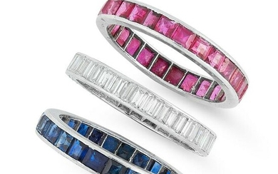 A TRIO OF SAPPHIRE, RUBY AND DIAMOND ETERNITY RINGS