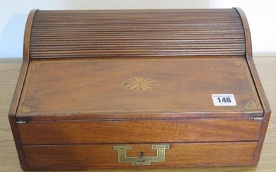 A Victorian inlaid mahogany tambour top writing slope with a...