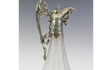 A Victorian silver mounted cut glass claret jug, marks for '...