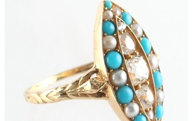A Victorian yellow gold turquoise diamond & seed pearl ring,...