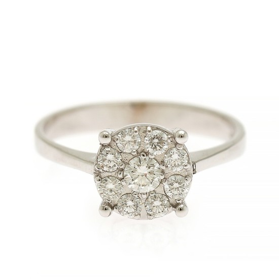 A diamond ring set with nine brilliant-cut diamonds totalling app. 0.44 ct., mounted in 18k white gold. Size 54.