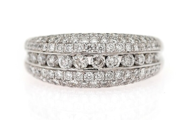 A diamond ring set with numerous brilliant-cut diamonds weighing a total of app. 1.60 ct.,...