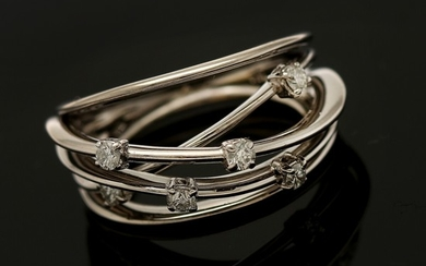 A diamond ring set with six brilliant-cut diamonds totalling app. 0.24 ct., mounted in 18k white gold. Size 55.5.