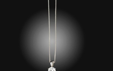 A diamond solitaire pendant, the round brilliant-cut diamond weighs 1.70cts, claw-set in white gold, on a fine-link white gold neck chain, pendant 1.5cm high, necklace 48cm long Accompanied by report number 1162729516 dated 10 November 2014 from GIA...