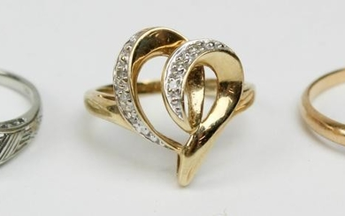 A group of 3 14k gold rings