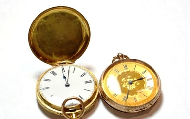 A lady's fob watch stamped 18k and a lady's fob...