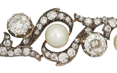 A late 19th century pearl and diamond...