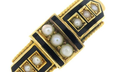 A late Victorian gold enamel and split pearl