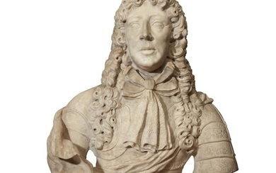 A life-size French Baroque style marble bust of a...