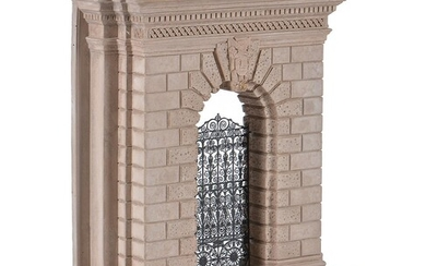 A modern gypsum and metal mounted architectural model of the Burlington House Arch