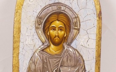 """A painted and embossed white metal Orthodox icon, 8"""" high"""