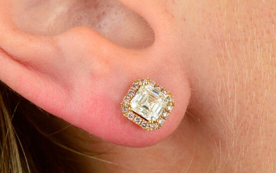 A pair of 18ct gold square-shape diamond and brilliant-cut 'pink' diamond cluster earrings.