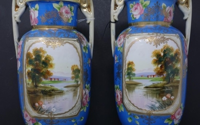 A pair of Japanese Noritake hand painted porcelain vases, H....