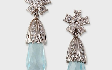 A pair of aquamarine and diamond drop earrings