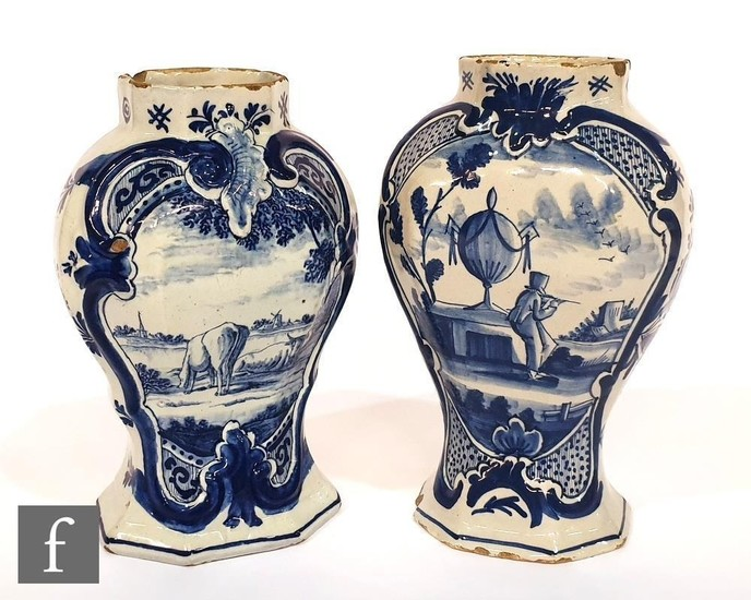 A pair of late 18th to early 19th Century hand painted Delft...