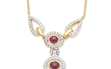 A ruby and diamond pendant necklace