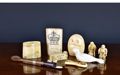 A small collection of antique bone and ivory curiosities, to...