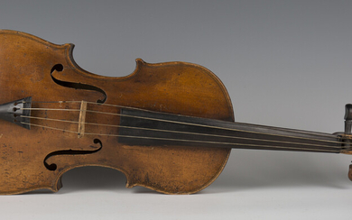 A violin with two-piece back, length of back excluding button 35.9cm, cased with two bows.