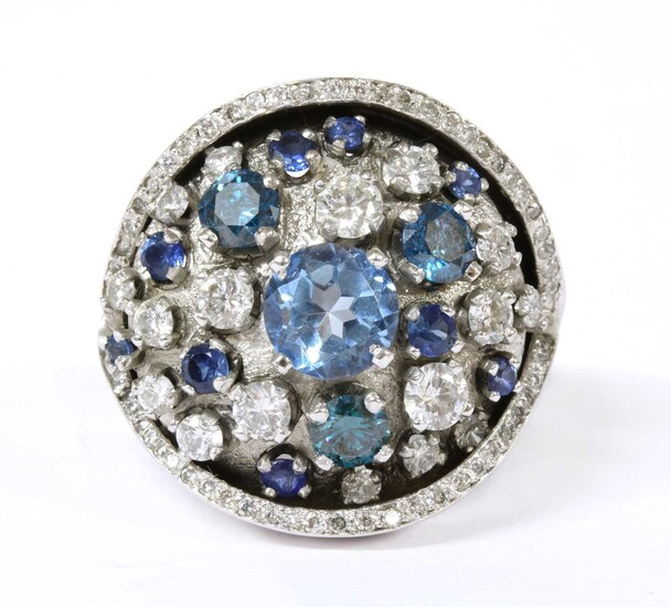 A white gold and platinum diamond and assorted gemstone cluster ring