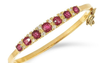 ANTIQUE RUBY AND DIAMOND BANGLE set with cushion cut