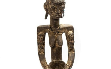 "African Wood 36"" Tribal Fertility Figure Sculpture"