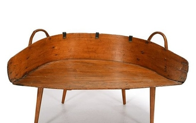 American Oak Wagon Seat Converted to Table.