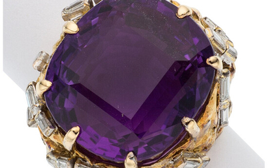 Amethyst, Diamond, Gold Ring The ring features a cushion-shaped...