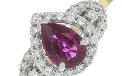 An 18ct gold ruby and brilliant-cut diamond dress