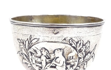 An early 18th century German unmarked parcel gilt silver tum...