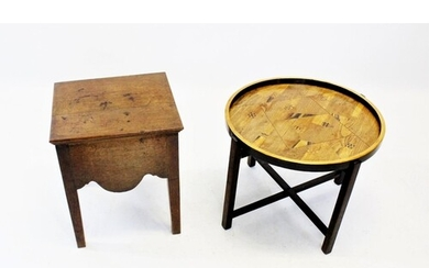 An early 20th century folding table, the circular parquetry ...