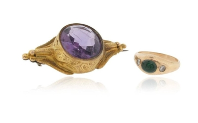 An emerald and diamond-set bombe ring, set with...