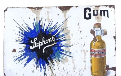 An original enamel advertising sign for Stephens Gum, with p...