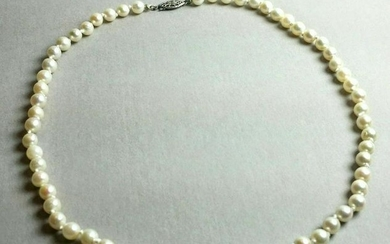 Art Deco Sterling Filigree Cultured Pearl Necklace