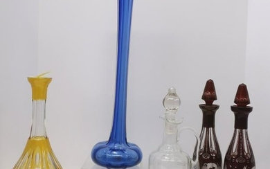 Assorted Colored Glass Serving Items, Vases