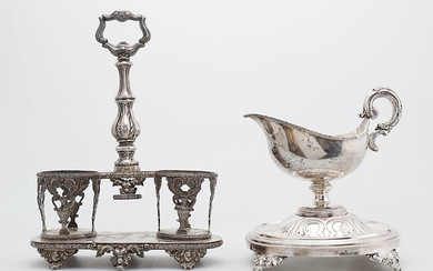 Barcelona cruets stand and sauce boat with foot in silver, second third of the 19th Century.