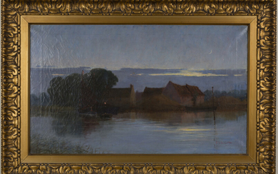 British School - View of Buildings on the Bank of a River at Night, oil on canvas, indistinctly sign