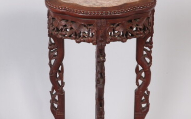 CHINESE CARVED AND PIERCED TABOURET WITH MARQUISE SHAPED TOP INSET...