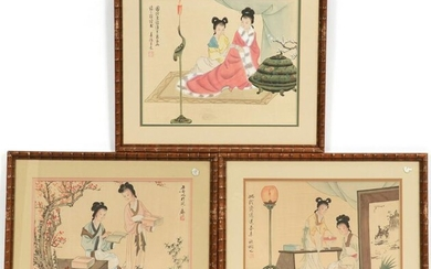 CHINESE HAND COLORED PRINTS, THREE